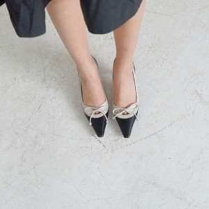 Women's Black Pointed Toe Vintage Kitten Heels Pumps Shoes