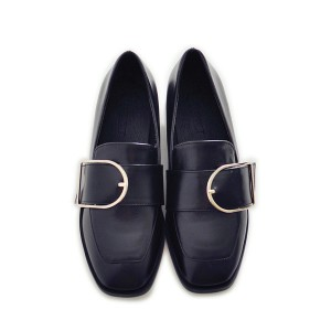 Black Buckle Slip-on Flat  Vintage Shoes