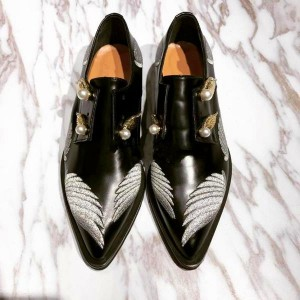 Black Vintage Shoes Slip-on Women's Oxfords with Wings and Pearls Embelishment