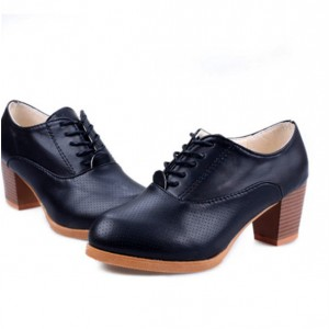 Black Vintage Shoes Lace-up Chunky Heel Round Toe Ankle Boots