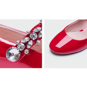 Mary Jane Round Toe Vintage Kitten Heel with Rhinestone Decoration Shoes