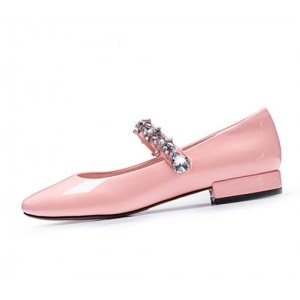 Pink Mary Jane Pumps Round Toe Rhinestone Flats for School