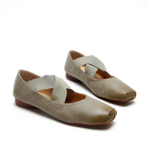 Grey Elastic Strap Flats Vintage Shoes