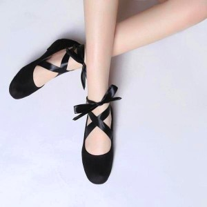 Black Suede Comfortable Flats Strappy Ballet Shoes for Female