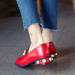 Women's Red with Pearl Square Toe Brogues Flat Vintage Shoes