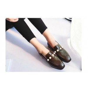 Army Green Square Toe  Flat Vintage Shoes-Women's Brogues