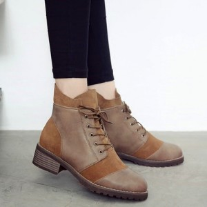 Tan Vintage Boots Round Toe Lace up Low Heel Short Boots