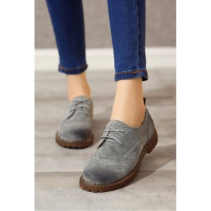 Women's Oxfords Grey Round Toe Lace-up Flat Vintage Shoes