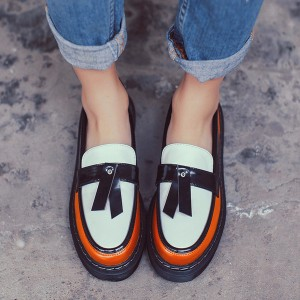 2018 Fall Orange Women's Oxfords Vintage Loafers School Shoes