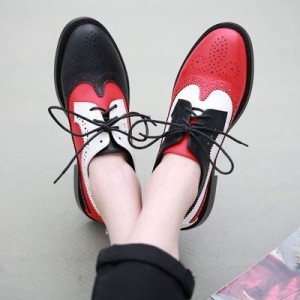 Women's Vintage Patch-color Lace-up Oxfords Flat