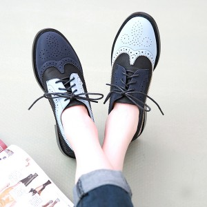 Blue and Navy Women's Oxfords Lace Up Vintage Brogues School Shoes