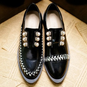 Women's Black Oxfords Rhinestones and Pears Vintage Shoes