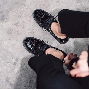 Black Patent Leather Wingtip Shoes Round Toe Lace up Vintage Oxfords