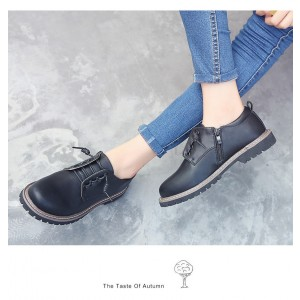 Leila Black Round Toe Vintage Shoes Lace-up Flats Women's Oxfords