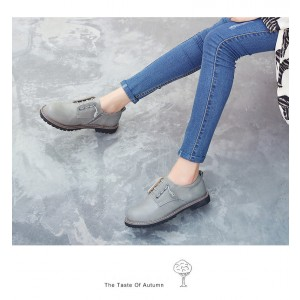 Women's Grey Lace-up Oxfords Flats Round Toe Vintage Shoes