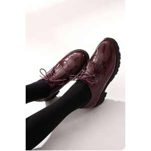 Women's Burgundy Patent Leather Fringed Lace-up Vintage Shoes Women's Oxfords