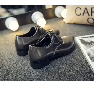 Dark Grey Patent Leather Pointed Toe Vintage Shoes Lace-up Women's Oxfords