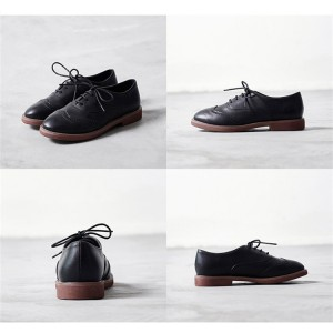 Black Round Toe Wingtip Shoes Lace up Vintage Flat Oxfords