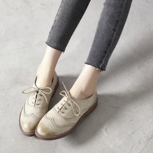 Beige Round Toe Vintage Lace-up Flats Women's Oxfords