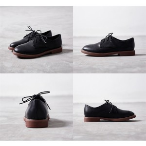 Black Round Toe Lace-up Vintage Shoes Comfortable Oxfords for School
