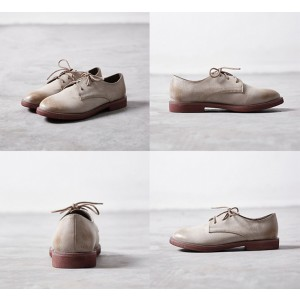 Beige Round Toe Vintage Shoes Lace-up Flats Women's Oxfords