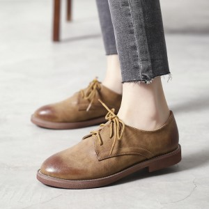 Women's Oxfords Brown Round Toe Vintage Lace-up Flats