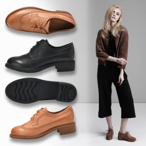 Leila Black Round Toe Vintage Shoes Lace-up Flats Women's Oxfords-Brogues