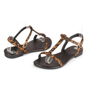 Brown T-strap Leopard Print Flats Sandals for Women