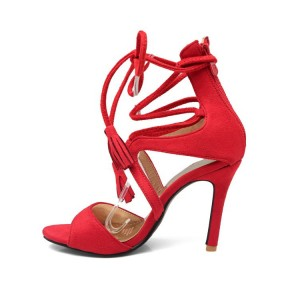 Coral Red Strappy Stiletto Heel Sandals Fringe Shoes for Women