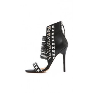 Black and White Strappy Sandals Stiletto Heels Shoes for Birthday Gift