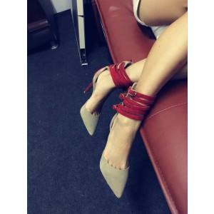 Khaki Red Ankle Strap Stiletto Heel Pointed Toe Sandals for Party