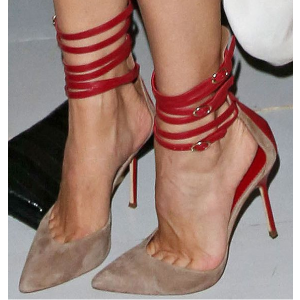 Red and Taupe Ankle Strap Sandals Closed Toe Stiletto Heels