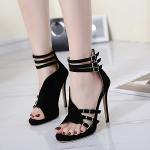 Women's Black Stiletto Heel Open Toe Prom Ankle Strap Sandals