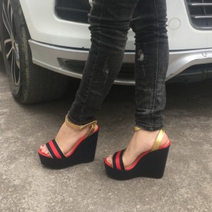 Red and Black Wedge Sandals Elastic Strap Platform Shoes