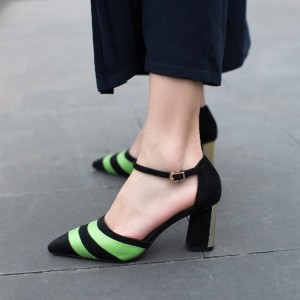 Black and Green Stripes Block Heel Sandals Ankle Strap Stiletto Heels