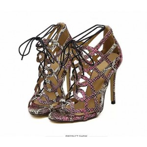Python Strappy Sandals Open Toe 3 Inch Stiletto Heels for Women