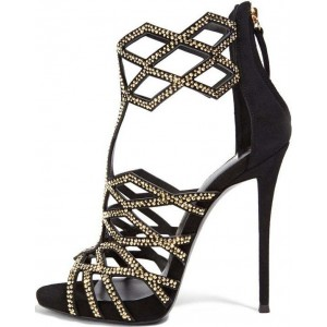 Black and Gold Evening Shoes Sequined Cage Sandals Stiletto Heels