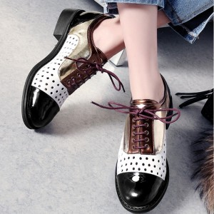 White and Black Multi-colors Vintage School Shoes Oxfords& Brogues