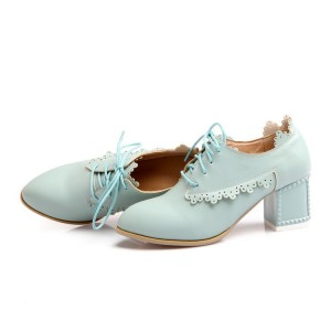 Turquoise Chunky Heels Round Toe Lace up Heeled Oxfords