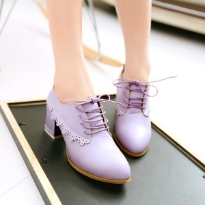 Purple Chunky Heels Lace up School Shoes Heeled Oxfords