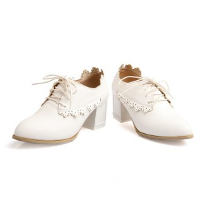 White School Shoes Lace up Heeled Oxfords