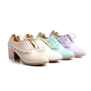 Beige Chunky Heels Lace up Heeled Oxfords