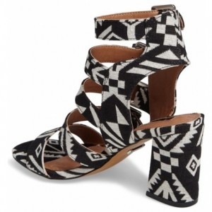 Black and White Buckles Block Heels Open Toe Sandals