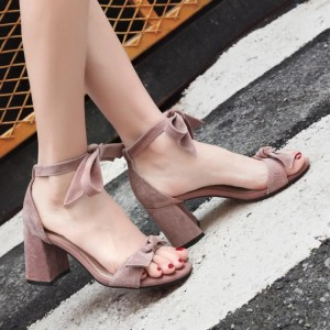 Pink Soft Suede Ankle Bow Strappy Sandals for Prom