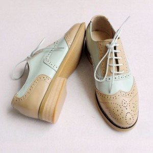 Khaki and White Women's Oxfords Lace-up Vintage Brogues