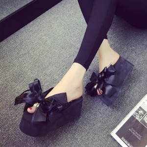 Black Satin Bow Wedge Flip Flops Cute Platform Sandals