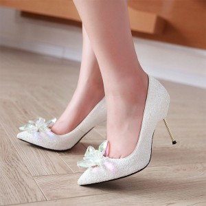 Women's White Stiletto Heels Dazzling Crystal Wedding Shoes