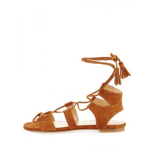 Brown Open Toe Flats Strappy Sandals for School