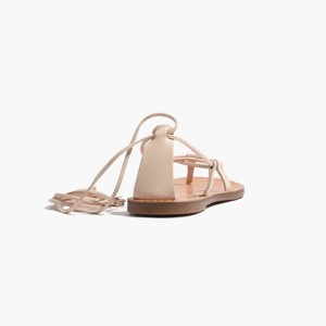 Beige Strappy Sandals Comfortable Flats Summer Sandals