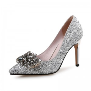Women's Latest Silver Glitter Crystal Glitter Stiletto Heel Pumps Bridal Heels